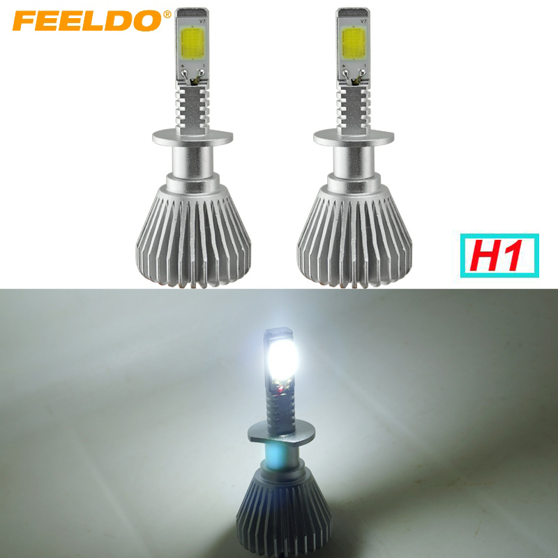 FEELDO 5Pair  H1 Super White 60W 6400LM H1 Car COB LED Headlight Kit Fog Lamp Bulbs Light Xenon 6000k #FD-2400 wireless restaurant calling system 433 92mhz table buzzer bell pager ce passed 1 display 1 watch 4 call button
