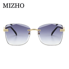 MIZHO 2019 Fashion New Rimless Sunglasses Women Trendy Luxury Brand Designer Artificial Crystal Ladies Sunglass Tinted Eyewear