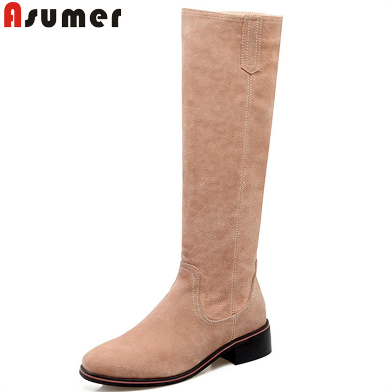 ASUMER fashion autumn boots women square toe zip suede leather knee high boots women med heels classic ladies prom shoes asumer 2018 fashion autumn winter boots zip round toe suede leather knee high boots women thick high heels boots ladies shoes