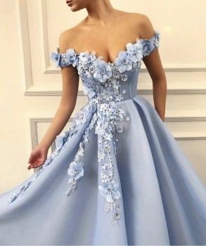 Charming Blue Evening Dresses 2019 A-Line Off The Shoulder Flowers Appliques Dubai Saudi Arabic Long Evening Gown Prom Dress 2
