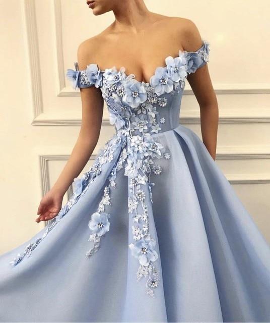 Charming Blue Evening Dresses 2019 A-Line Off The Shoulder Flowers Appliques Dubai Saudi Arabic Long Evening Gown Prom Dress 2