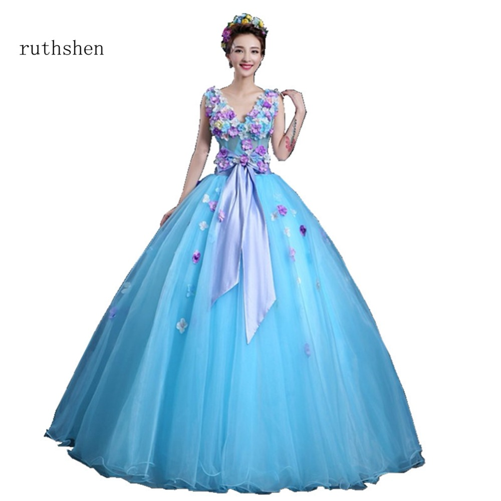 ruthshen Quinceanera Dress With Sexy V Neck Ball Gowns Sleeveless Vestidos Flowers Appliques Masquerade Party Prom Dresses 2018