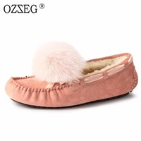 luxury designer brand Genuine leather Female lined real fur wool with Fox ball Moccasins Lady Flats Pink hair shoe women Loafers