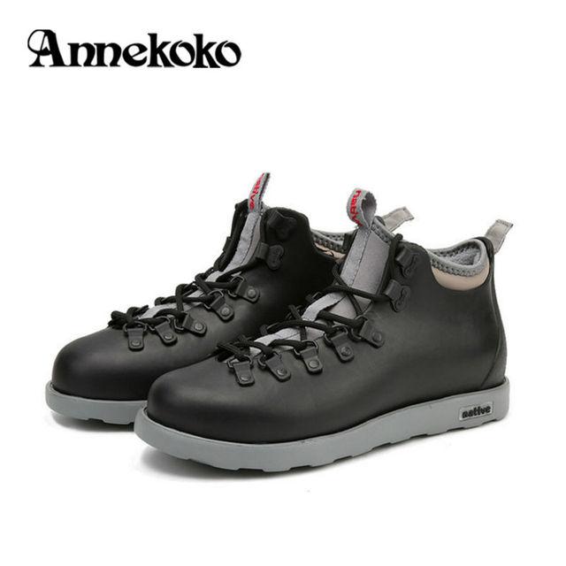 Men's Waterproof Winter Boots Warm Shoes Fur Eva Ankle Rain Boot Autumn Fashion Jefferson Native Martin Botas