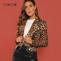 COLROVIE Leopard Print Asymmetric Zip Biker Crop Winter Jacket Women Coats 2018 Streetwear Casual Fashion Office Ladies Outwear
