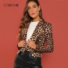 COLROVIE manteaux pour femmes, veste dhiver avec fermeture éclair asymétrique, léopard, 2018, Streetwear décontracté, mode de bureau pour femmes