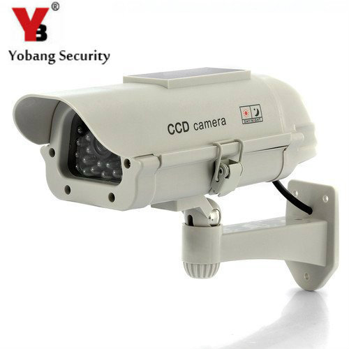 YobangSecurity Solar Power LED Wireless IR Surveillance Dummy Fake CCTV Security Camera LED Flashing Indoor/Outdoor цена и фото
