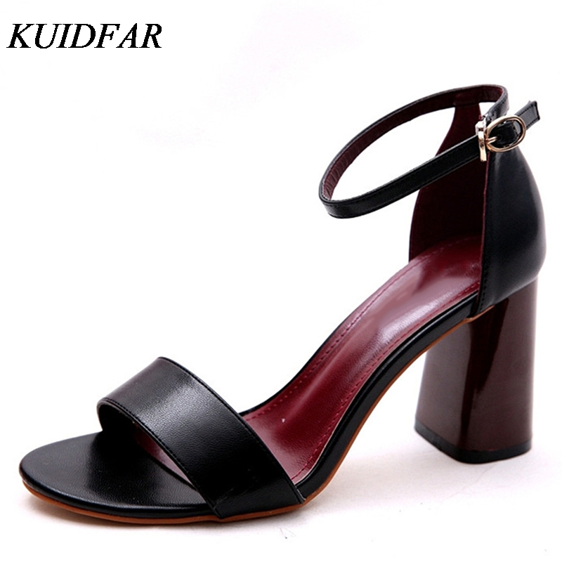 KUIDFAR Newest Women Pumps Open Toe Sexy Ankle Straps High Heels Shoes Summer Ladies Bridal Suede Thick Heel Sandals
