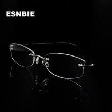 ESNBIE WomenS Rimless Glasses Myopia Frame Optical Woman Oval Eyeglasses Prescription Eyewear Monturas De Lentes Mujer