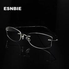 ESNBIE-gafas sin montura para Mujer, Lentes recetados ovalados con Monturas ópticas para Miopía