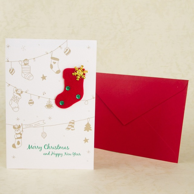 merry christmas card paper handmade christmas gift greeting cards cartoon christmas stockings happy new year cards