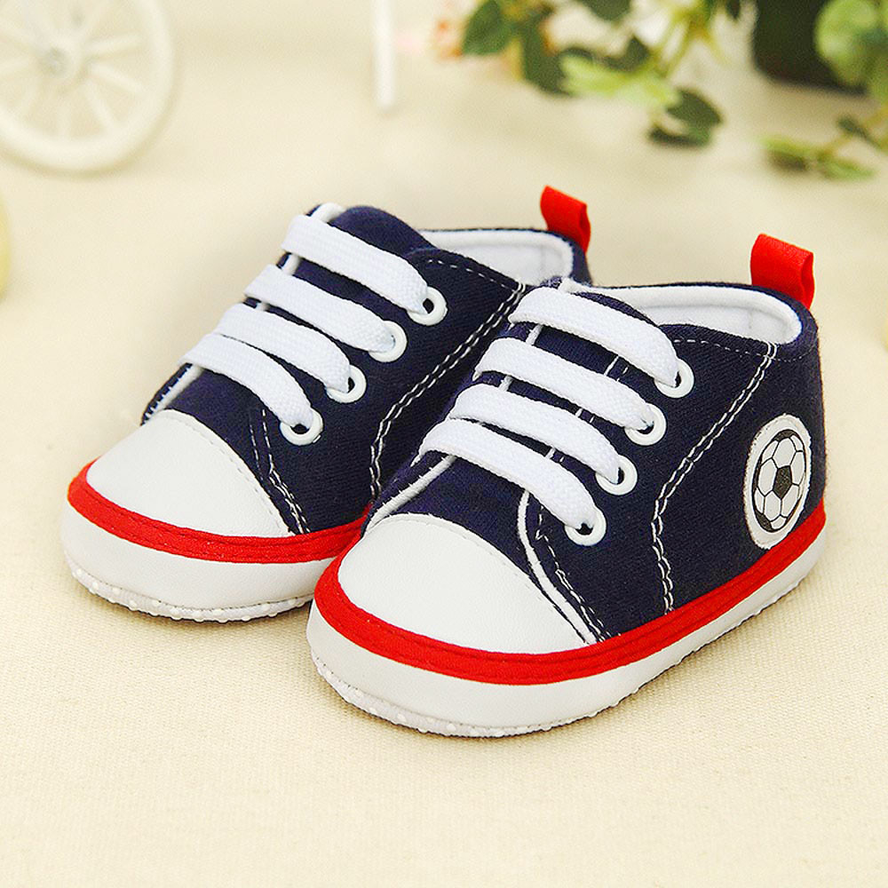 New Autuam Baby Boy Girl Lace-up Sneaker Newborn Infant Baby Football Print Sneaker Anti-slip Soft Sole Toddler Canvas Shoes