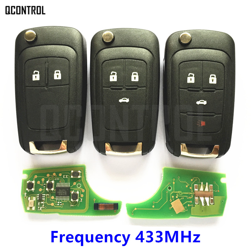 Mando a distancia para coche QCONTROL para Chevrolet Cruze Malibu Aveo Spark Sail 2/3/4 botones 433 Mhz Control alarma Fob