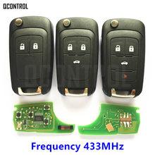 Chave automotiva remota qcontrol, funciona com chevrolet malibu cruze aveo spark sail com 2/3/4 botões, alarme de controle de 433mhz fob