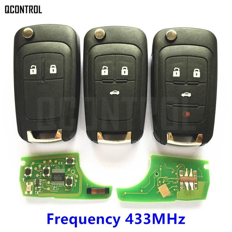 Qcontrol carro remoto chave terno para chevrolet malibu cruze aveo vela faísca 2/3/4 botões 433 mhz controle de alarme fob