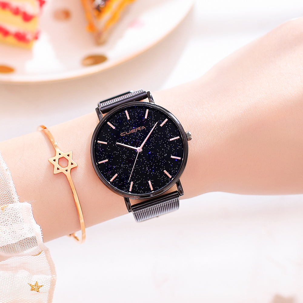 Star Sky Women Watches Bracelet Clock Luxury Rose Gold Black Lady Quartz Wrist Watch 2019  Bayan Kol Saati Relojes Montre Femme