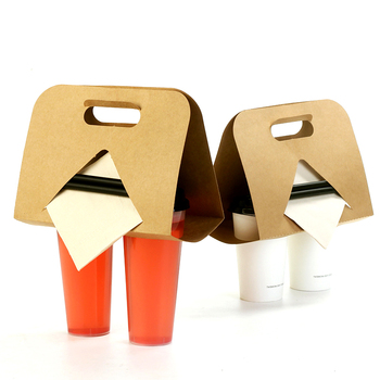Hot Drinks Packaging Tray Disposable Takeout Kraft Paper Cup Holder Coffee Tea Mug Base Handle Holders Drinkware Stand Cup Tray