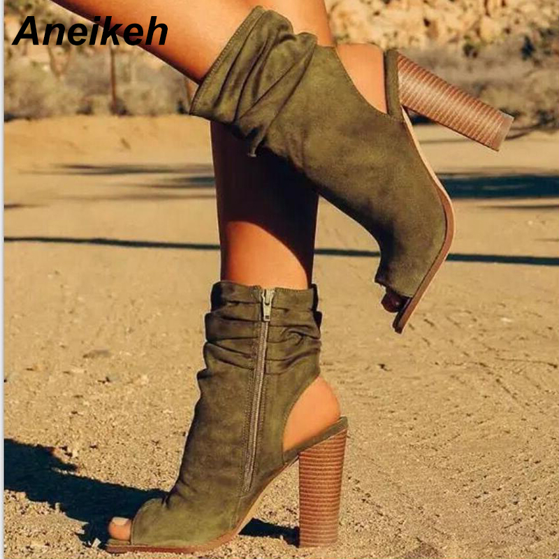 Aneikeh Spring Brown Suede Chunky Heel Ankle Boots Fashion Pleated Design Sexy Slingback Thick Heel Sandal Ankle Booties Shoe