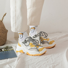 Купить с кэшбэком JINBEILEE Women's New Running Sports Shoes,Height Increasing  Color Matching   Lace-Up  Casual Sneakers Walking Shoes Women