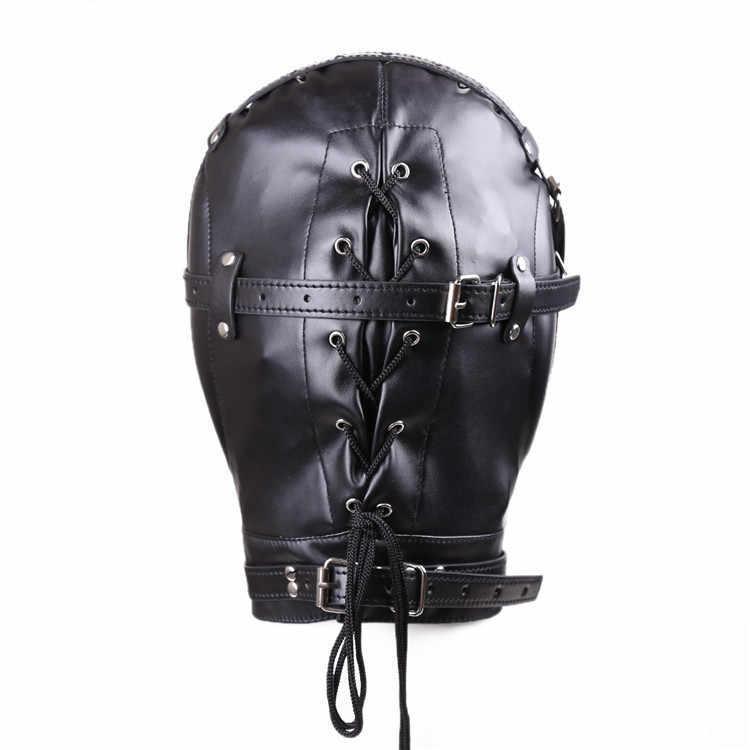 エキゾチックアクセサリーヘッドハーネス Pu レザーフード緊縛マスクキャップスレーブ緊縛ボンデージ目襟ヘッドギア緊縛拘束