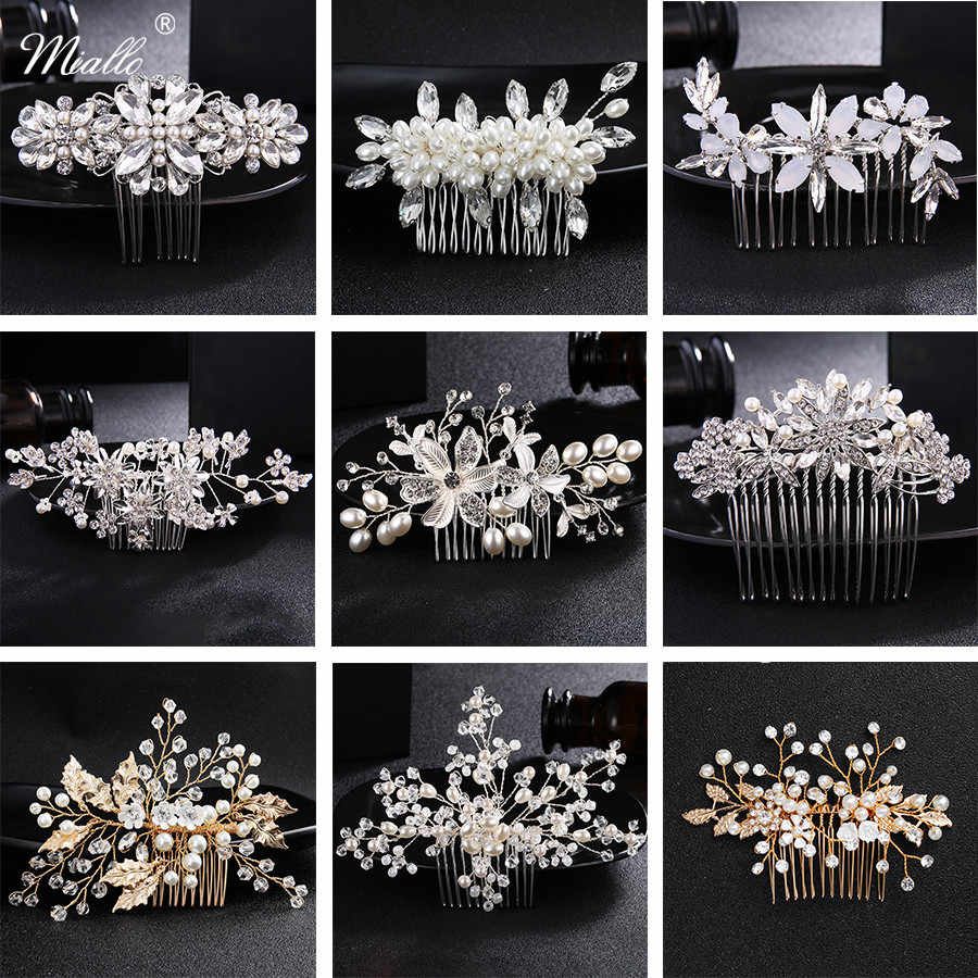 Miallo Fashion Flower Crystal Hair Combs Wedding Hair Accessories Jewelry Bridal Hairpins Clips Headpieces Bride's Tiaras