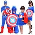 Trajes de Halloween Dos Miúdos Das Crianças roupas de Super-heróis Capitão América Traje Cosplay Manga Comprida meninos meninas Conjunto de Roupas