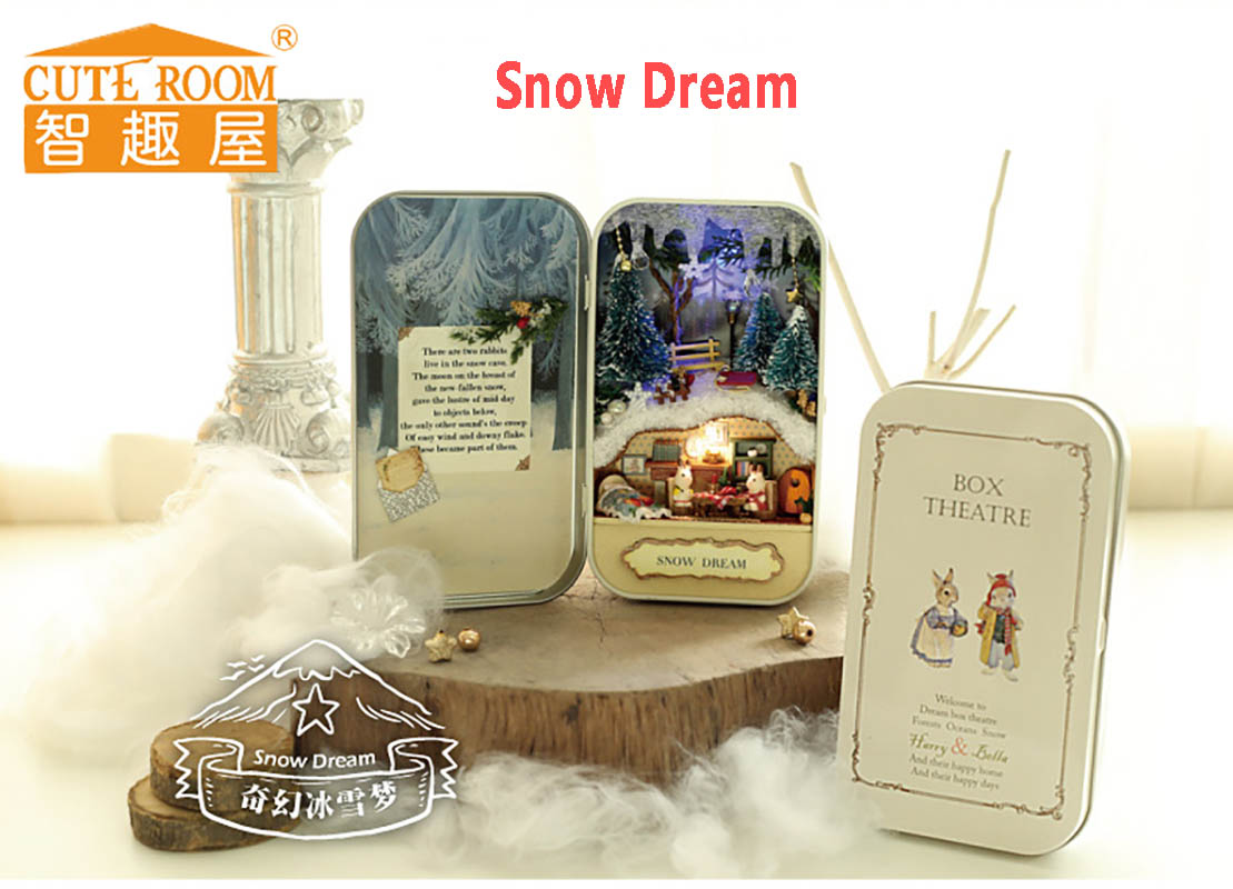 Doll House Diy miniature puppenhaus 3D Wooden Puzzle miniaturer Møbler House Doll For Fødselsdag Gave Legetøj -Snow Dream