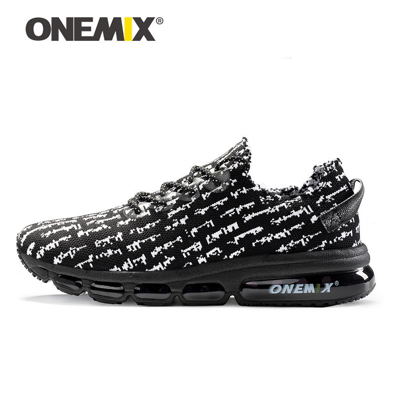 Onemix Men's Running Shoes Sneakers Lightweight Knit Mesh Vamp Sneakers Damping Cushion For Outdoor Jogging Walking Shoes onemix autumn women running shoes breathable mesh vamp lightweight sneakers running shoes air cusion shoes free shipping black