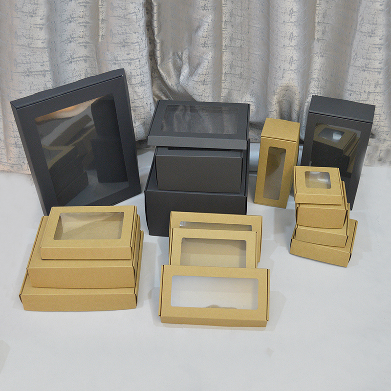 Image 5 - 20pcs White Custom Cardboard Box For Gift Packaging Big Carton Boxes Black Brown Paper Large Sizes Kraft Packing Box With Windowkraft packkraft boxkraft paper box -