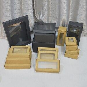 Image 5 - Boîte en Carton personnalisée blanche de 20 pièces pour emballage cadeau grandes boîtes en Carton papier brun noir grandes tailles boîte demballage Kraft avec fenêtre