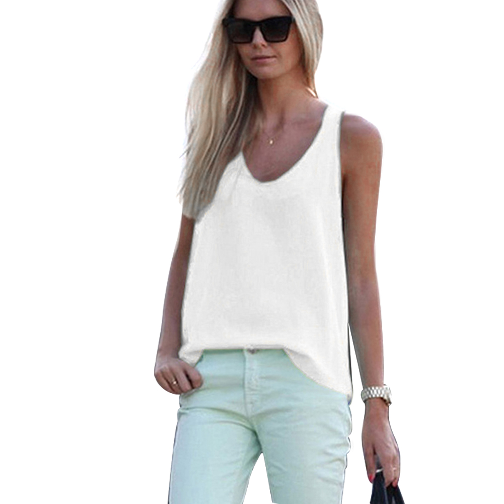 New Women's Solid Color Sleeveless V-neck Slim Summer Chiffon Blouse Blusas Mujer De Moda 2019