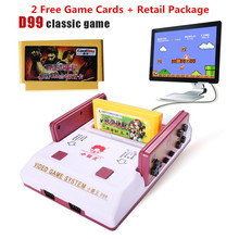 Прохладный Ребенка D99 ТВ игрок игры Игровая Консоль Красный и белый классической игры + 2 Бесплатные Игры Карты как хороший подарок