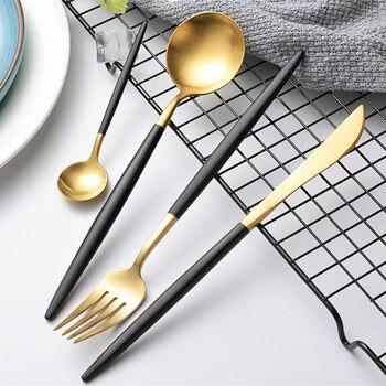 KuBac 24-Pieces Black Gold Cutlery Set Matte Dinnerware Set Forks Knives Scroops 18/10 Stainless Steel Black Gold Silverware Set