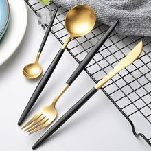 KuBac 24-Pieces Black Gold Cutlery Set Matte Dinnerware Set Forks Knives Scroops 18/10 Stainless Steel Black Gold Silverware Set(China)