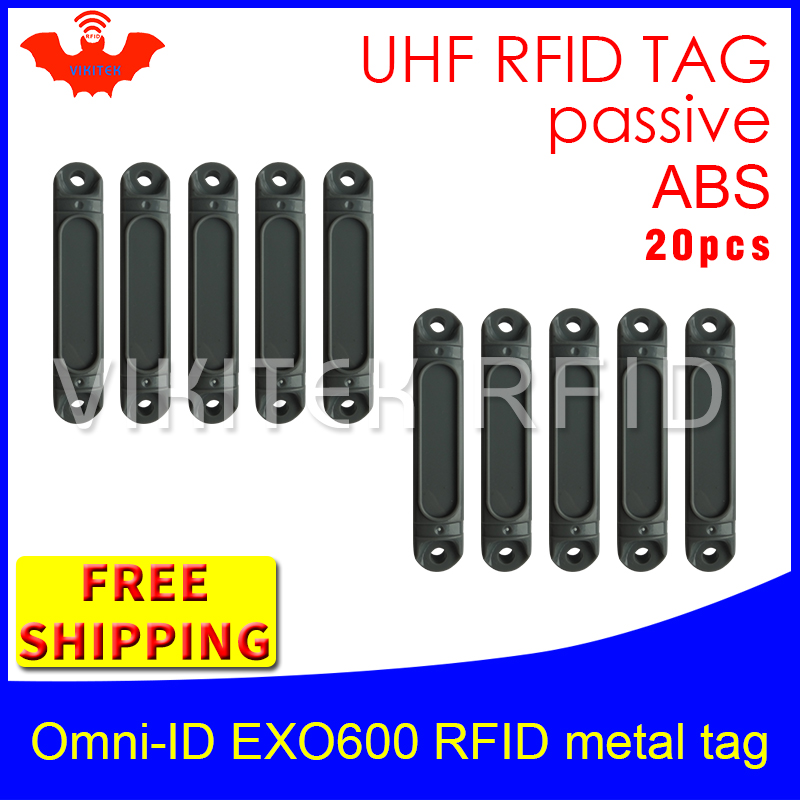 UHF RFID metal tag omni-ID EXO 600 915m 868mhz Impinj Monza4QT EPC 20pcs free shipping durable ABS smart card passive RFID tags uhf rfid anti metal tag omni id adept 500 915m 868m gas cylinder management alien higgs3 epcc1g2 6c smart card passive rfid tags