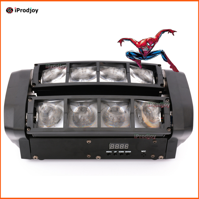 Mini Spider Moving Head 8x6w Cree LED RGBW Beam Stage Dj Disco Laser show Sound Light