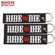 3 PCS REMOVE BEFORE FLIGHT  Ride or Die Keychain Motorcycle and Bicycle Riding Key Chain Embroidery Wholesale Ring Chains