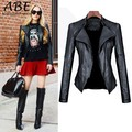 Hot Sale Women New Fashion Sexy Synthetic Leather Jacket LonG Sleeve Turn-down Collar Motorcycle Coat Jacket