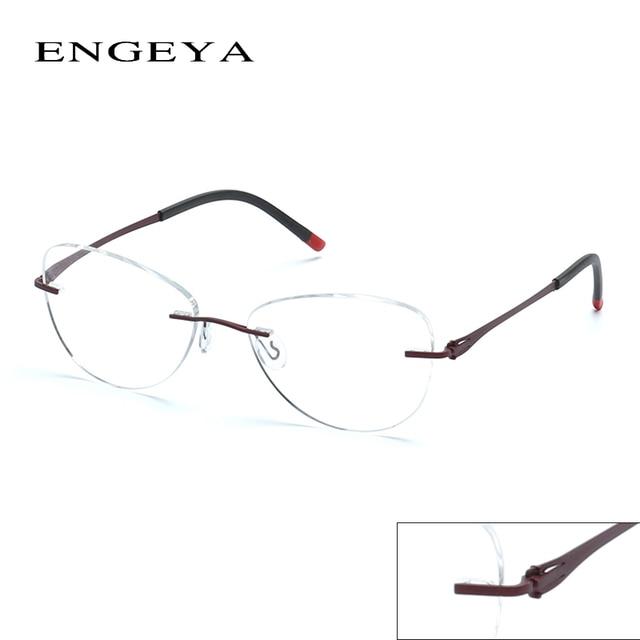 2016 ENGEYA Optical Clear Lens Glasses Frame Prescription Eyewear Rimless Myopia Eye Glasses Frames For Women Unique Hinge #8034