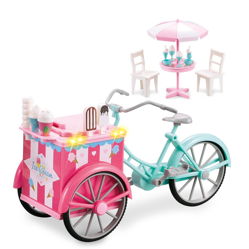 Mini Toy Candy Ice-cream Outdoor Three-wheeled Tricycle Light Music Accessories Many Fun And Interesting Children's Shopping Toy