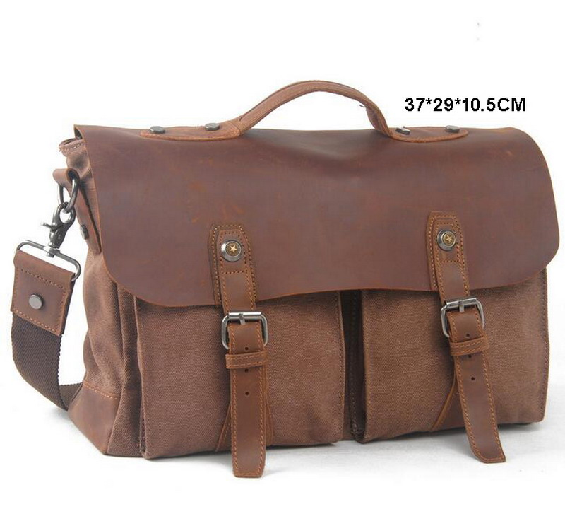 New Arrival Men Women Messenger Bags Vintage Canvas Cowhide Leather Briefcase Military Travel Crossbody Laptop Shoulder