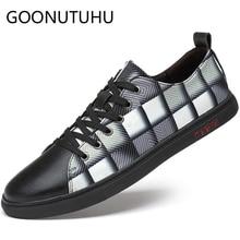 где купить 2019 new fashion men's shoes casual genuine leather male nice flats sneakers lace up shoe man waterproof platform shoes for men по лучшей цене