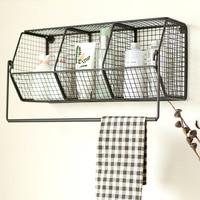 Wrought iron storage basket hanging towel rack debris storage rack hanging basket finishing rack wx10261117