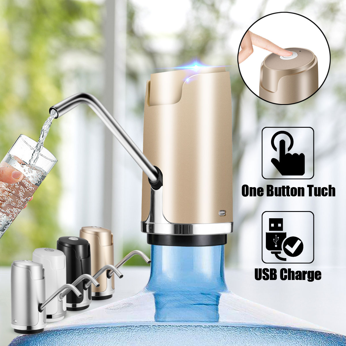 Automatic Wireless USB Rechargeable Electric Gallon Bottle Water Pump Drinking Pure Water Dispenser Bottle Switch1800mah цены