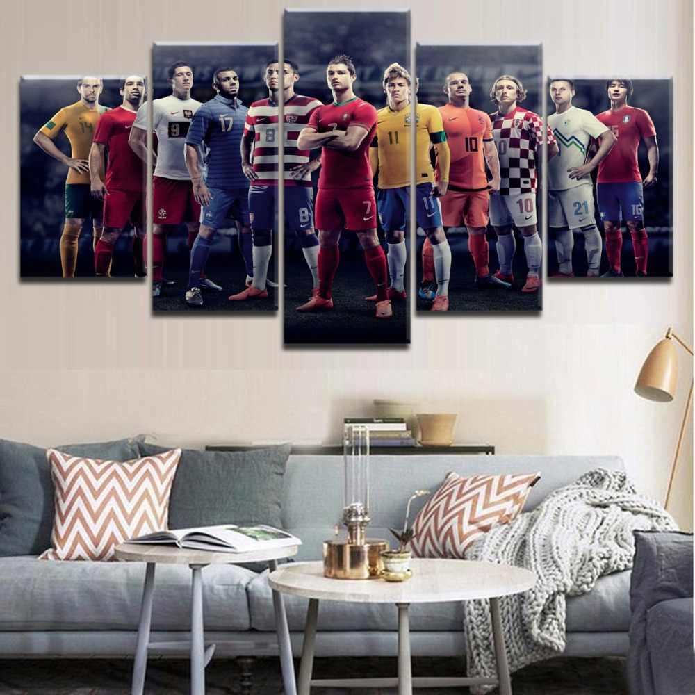 5 Pieces HD Printing Painting The Football Team Poster Players Sports Landscape Picture Framework For Modern Home Decor Bedroom