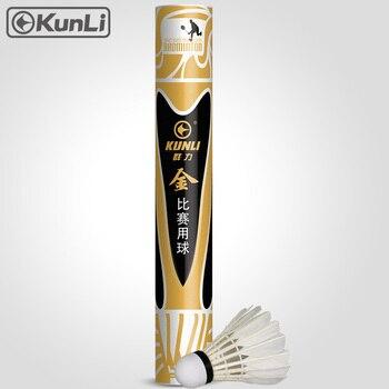 Kunli badminton shuttecock shuttecocks ouro Top grau de penas de ganso para o Torneio Internacional Melhor durável bola voando