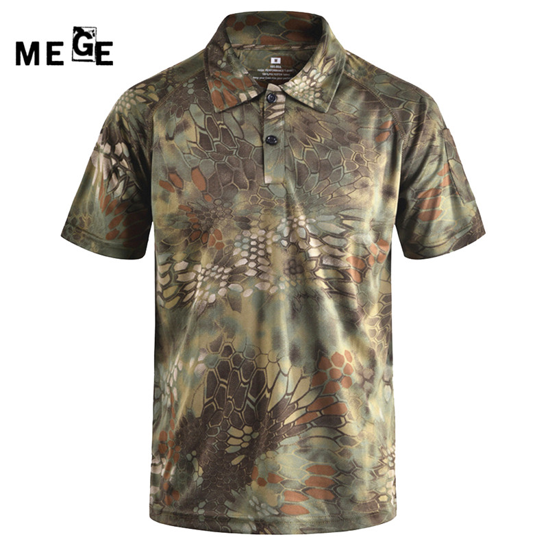 MEGE Men Summer COOLMAX Short Sleeve POLO, Camouflage Army Quick Dry shirt, Outdoor Hiking Camping Sports Breathable Tees