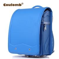 Coulomb Child's Backpack Solid Orthopedic Japanese PU Kid School Bag Hasp Randoseru Bags 2017 New High Quality