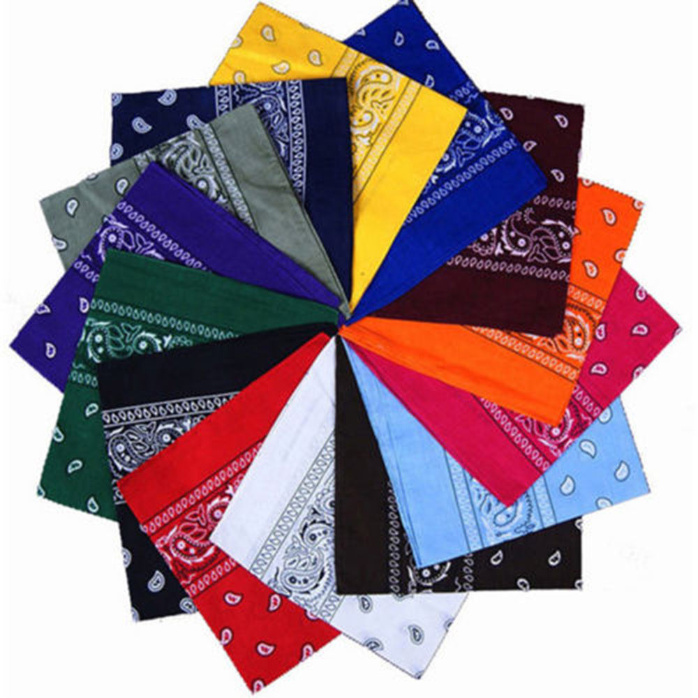Women Hair Accessories Linen Bandana Scarf Square Female Bandanas Headwear Rock Cool Girls Multi Paisley Headbands