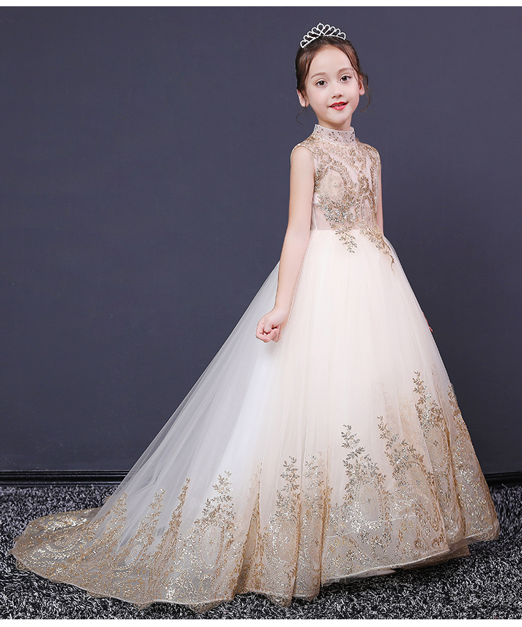 Glizt Sequin Gold Lace Girl First Communion Dress Long Trailing Ball Gown Girls Pageant Party Gown